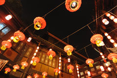 2014 Chinese New Year temple fair and lantern festival. The year of the horse,Visitors enjoy the Spring Festival Temple Fair at wuhouci, jinli old street Stock Images