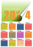 2014 colorful monthly calendar. On white Vector Illustration