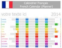 2014 de Franse Kalender van de Ontwerper met Horizontale Maanden Stock Afbeelding
