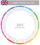 2014 English Circle Calendar Sun-Sat. On white background Stock Images
