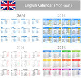 2014 English Mix Calendar Mon-Sun. On white background royalty free illustration