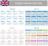 2014 English Mix Calendar Sun-Sat. On white background vector illustration