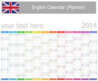 2014 English Planner Calendar with Vertical Months. On white background stock illustration