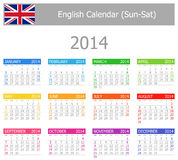 2014 English Type-1 Calendar Sun-Sat. On white background Stock Photo
