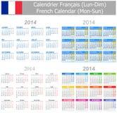 2014 Franzose-Mischungs-Kalender Montag-Sun Lizenzfreie Stockfotos