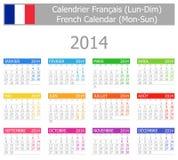 2014 Franzose-Typ- 1kalender Montag-Sun Lizenzfreies Stockfoto