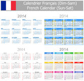 2014 French Mix Calendar Sun-Sat. On white background Vector Illustration