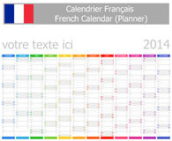2014 French Planner Calendar with Vertical Months. On white background stock illustration