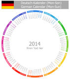 2014 German Circle Calendar Mon-Sun. On white background stock illustration