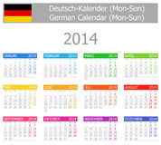 2014 German Type-1 Calendar Mon-Sun. On white background royalty free illustration