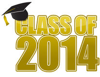 2014 Graduation. Golden sign isolated over white Royalty Free Stock Photography