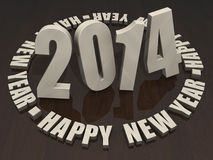 2014 Happy New Year. Wooden letters 2014 Happy New Year on a dark wood table top Royalty Free Stock Photo