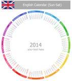 2014 ingleses circundan el calendario Sun-Sat Imagenes de archivo