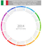 2014 Italian Circle Calendar Mon-Sun. On white background Royalty Free Stock Photo