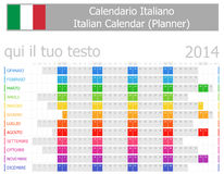 2014 Italian Planner Calendar with Horizontal Months. On white background Royalty Free Stock Image
