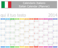 2014 Italiener-Planer-Kalender mit vertikalen Monaten Lizenzfreie Stockfotografie