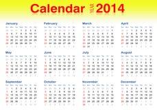 2014 Kalender, vektorillustrator Lizenzfreies Stockbild