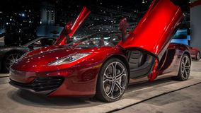 2014 McLaren MP4-12C Spider. CHICAGO, IL/USA - FEBRUARY 6: A 2014 McLaren MP4-12C Spider car at the Chicago Auto Show (CAS) on February 6, 2014, in Chicago Stock Photos