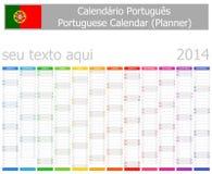 2014 meses portugueses de la vertical del calendario del planificador Foto de archivo