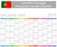 2014 meses portugueses do vertical do calendário do planejador Foto de Stock