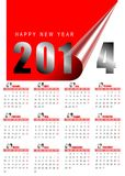 2014 monthly calendar. 2014 red monthly calendar on white Stock Photography