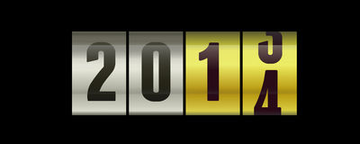 2014 - new year. 2013 to 2014 transition on a metal surface Stock Photography