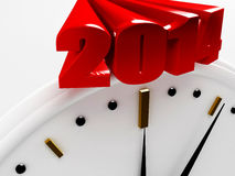 2014 New Year. 2014 over a white wall clock Royalty Free Stock Photo
