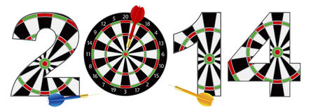 2014 New Year Dartboard with Darts Illustration. 2014 Happy New Year Dartboard with Darts on Target Bullseye Illustration Isolated on White Background Royalty Free Stock Images
