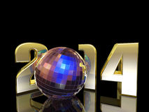2014 New Year Disco Ball. With reflections. Happy New Year Royalty Free Stock Image