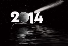 2014 New Year with moon stock photo