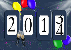 2014 New Year Odometer. Balloons and confetti with champagne flutes on a new year odometer for 2014 Royalty Free Stock Photo