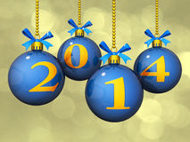 2014 New Year Ornaments Bokeh. Christmas Ornaments with the new year's 2014 on a Bokeh effect Royalty Free Stock Photos