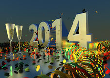 2014 New Years Eve. Party with sparkling wine and confetti Stock Image