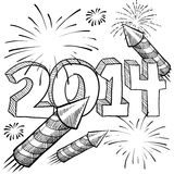 2014 New Year's fireworks vector. Doodle style 2014 New Year illustration in vector format with retro fireworks celebration background Stock Photos