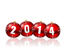 2014 new years illustration. 2014 new year card with red christmas balls on white background Royalty Free Stock Photography