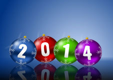 2014 new years illustration. 2014 new year card with christmas balls on white background Royalty Free Stock Images