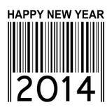 2014 nya år illustration med barcoden Arkivfoton
