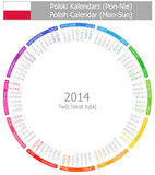 2014 okręgu Polski kalendarz Sun Zdjęcie Stock