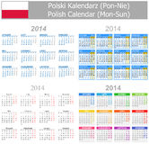 2014 Polish Mix Calendar Mon-Sun. On white background Stock Photos