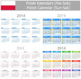 2014 Polish Mix Calendar Sun-Sat. On white background Royalty Free Stock Images