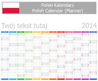 2014 Polish Planner Calendar with Vertical Months. On white background Royalty Free Stock Photography