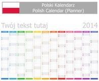 2014 polska Plannerkalender med lodlinjemånader Royaltyfri Fotografi