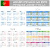 2014 Portugiese-Mischungs-Kalender Montag-Sun lizenzfreie abbildung