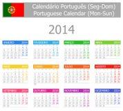 2014 Portugiese-Typ- 1kalender Montag-Sun Lizenzfreie Stockfotos