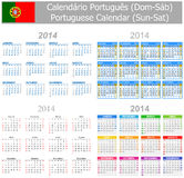 2014 Portuguese Mix Calendar Sun-Sat. On white background vector illustration