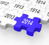 2014 Puzzle Piece Showing Calendar Royalty Free Stock Image