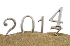 2014 on the sand Royalty Free Stock Photo