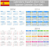 2014 Spanish Mix Calendar Sun-Sat. On white background Stock Illustration