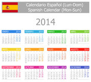 2014 Spanish Type-1 Calendar Mon-Sun Royalty Free Stock Images