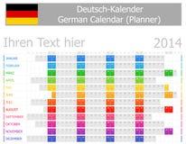 2014 tyska Plannerkalender med horisontalmånader Royaltyfri Foto
